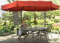 11' Offset Red Patio Detachable Netting Cantilever Umbrella Outdoor Furniture