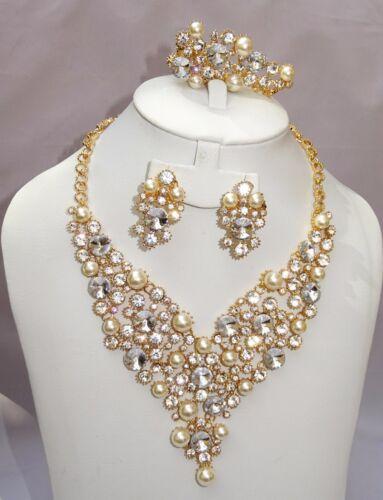 Disfraz De Crema Blanco Perla Chapado en Oro Joyería Collar Pendiente Pulsera Set