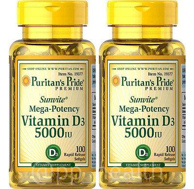2X Puritan's Pride Mega-Potency Vitamin D3 5000 IU total 200 Softgels