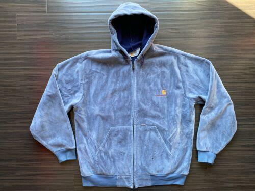 Carhartt Gray Velour Hooded Zip Jacket Workwear Ve
