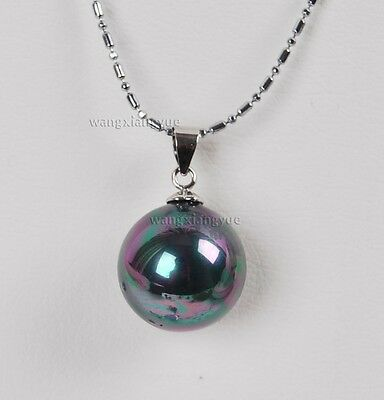 "16MM MultiColor Black sea shell pearl Gemstone pendant necklace 17"" AAA Grade"