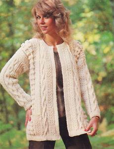 4dd999a5d Image is loading Ladies-Aran-style-Jacket-Knitting-pattern-Lovely-vintage-