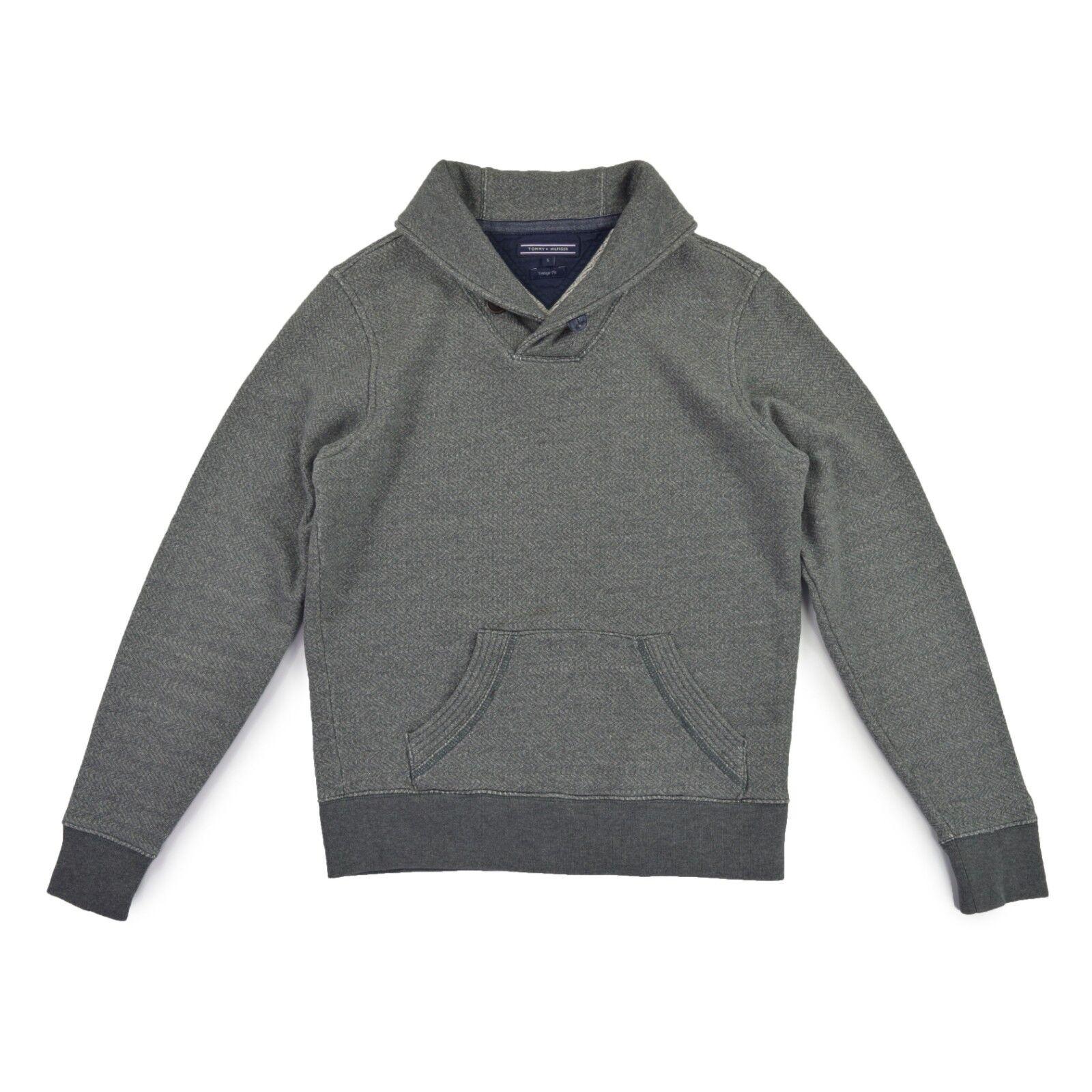 TOMMY HILFIGER Herren Pullover S 48 grau gefüttert Sweat Pulli Jumper wie NEU | Zuverlässige Leistung