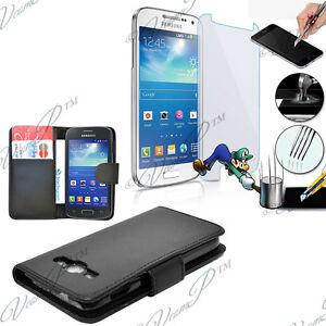 Etui-Coque-Film-Verre-Trempe-Portefeuille-Cuir-Samsung-Galaxy-Avant-SM-G386T