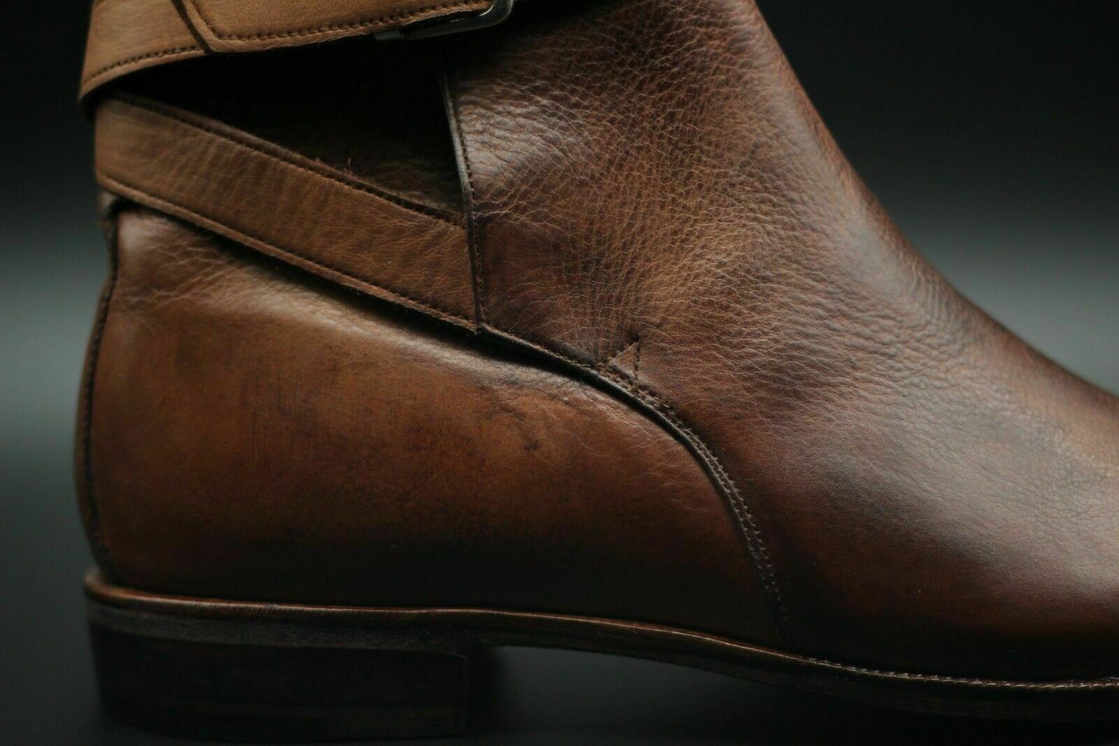 Mens Handmade Stiefel Genuine braun Leather Ankle Ankle Ankle Buckle Strap Casual Formal schuhe  02db10