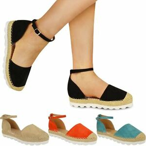 Womens Ladies Ankle Strap Flat Sandals Moccasins Espadrilles Summer ...