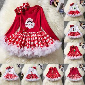 Baby Mädchen Weihnachten Tutu Strampler Langarm Xmas Kleid Stirnband Outfit 2tlg