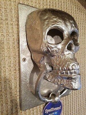 New Cast Iron Skull Gothic Silver Door Knocker Decor Towel Holder Halloween Ebay