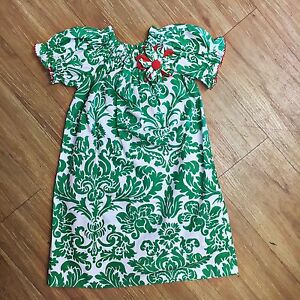 Girls-Le-Za-Me-Green-White-Damask-Dress-Red-Bishop-4T-Holiday-Christmas