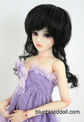"""1/4 1/3 BJD 7-8"""" doll wig black color synthesis mohair MSD dollfie luts ship US"""