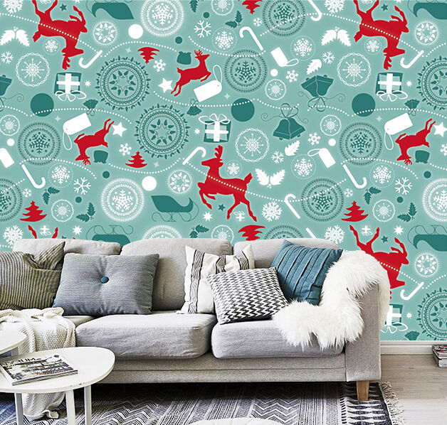 3D Christmas texture deer Wall Paper Print Decal Wall Deco Wall Indoor Murals