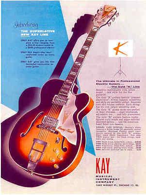 1950s KAY BARNEY KESSEL GUITAR AD  REPRODUCTION