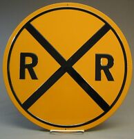 Ande Rooney Railroad Crossing Tin Sign Train 14 1/4 Round Rr Xing 2160041