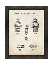 Legoman Patent Print Old Look in a Beveled Black Wood Frame