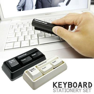 Keyboard Style Desk Stationary Set Stapler Brush Hole Punch Paperclip Dispenser