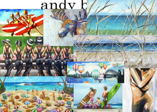 Cricket world cup Art signed Painting Beach canvas Australia ocean seascape