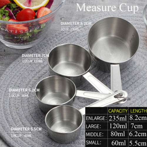 4 Pcs//Set Stainless Steel Measuring Cups Spoon Household Baking Flour Scoop New