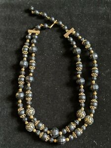 Vintage-Black-Gold-Tone-Faceted-Bead-Double-Multi-Strand-Choker-Necklace