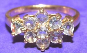 SECONDHAND-9ct-YELLOW-GOLD-MULTI-TANZANITE-OVAL-CLUSTER-RING-SIZE-N