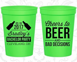Bachelor Party Cups Cup Favors (40045) Cheers To Beer And Bad Decisions