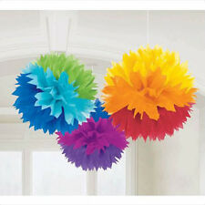 RAINBOW FLUFFY POM POM DECORATIONS (3) ~ Birthday Party Supplies Paper Circus