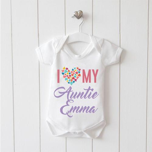 Me encanta mi tía Personalizado Bebé Chaleco bebé crezca 100/% Algodón Niños Niñas Bodys