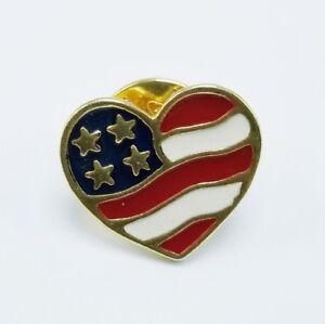 Vintage-2001-Avon-Heart-Pin-USA-Pin-American-Flag-Pin-Americana-Heart-Pin-Gold