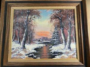 """Vintage L Glotzer """"Winter Landscape Scene"""" Oil Painting - Signed And Framed"""
