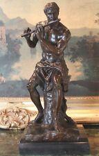 Elegant Male Nude Pan Flute Satyr Musical Mystic God Art Bronze Marble Statue