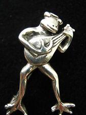 Solid Sterling Silver Singing Serenading Frog Prince Mandolin brooch Pin  Brooch