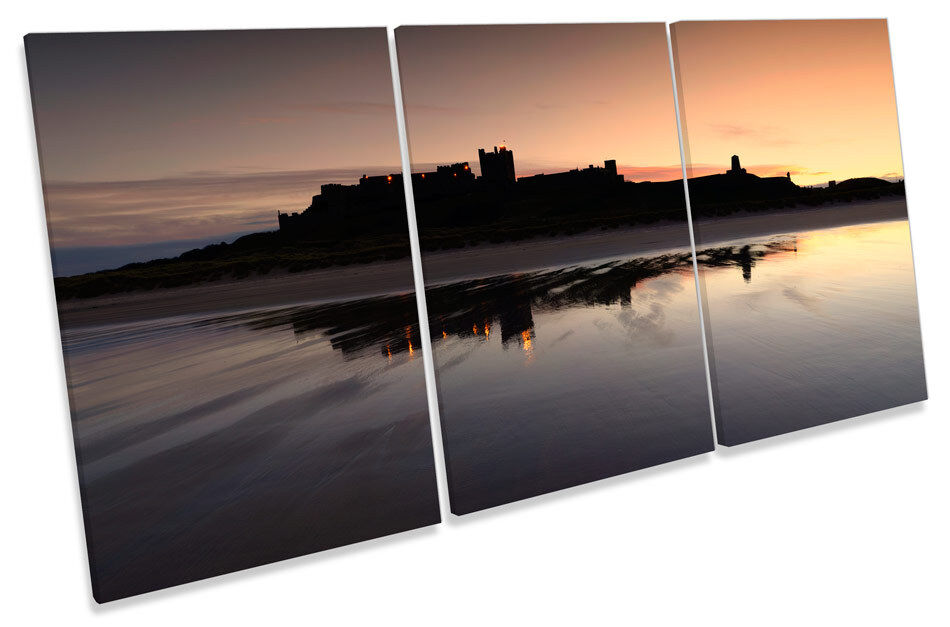 Bamburgh Castle Sunset TREBLE CANVAS WALL ART Picture Print