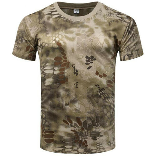 Men Tactical Military Camo Combat Short Sleeve Tee Athletic T-Shirts Tops Blouse