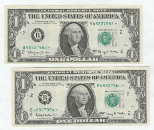 CU Pair of Consecutively Numbered 1963-A $1 Federal Reserve Star Notes--New York