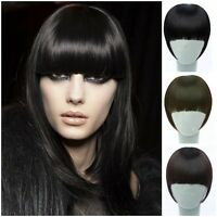 Women Girls Clip on Front Neat Bang Fringe Hair Extensions Straight Cosplay NEW