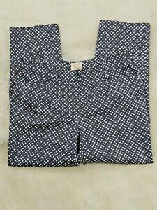 Andrea Jovine Capri Pantalones Para Mujer Azul Blanco Talla 4 29x25 Diamond Flower Ebay