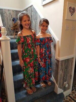 Girls children/'s  Off Shoulder Summer Floral Maxi Dress Beach Holiday Party