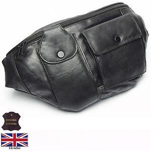 Real-Leather-X-Large-Bum-Waist-Bag-Money-Belt-Pouch-Black-Bumbag-Mobile-Holder