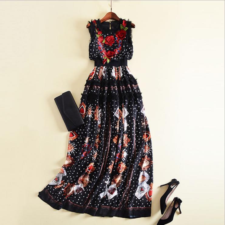 Runway tridimensional del  bordado flor popular Vestido formal elegante% Impreso  diseño simple y generoso