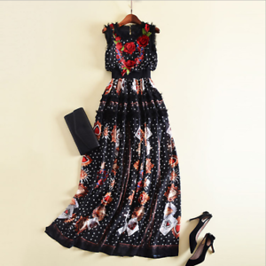 Woherren Occident Sleeveless Embroidery High Waist Floral Lace Maxi Long Dress D9