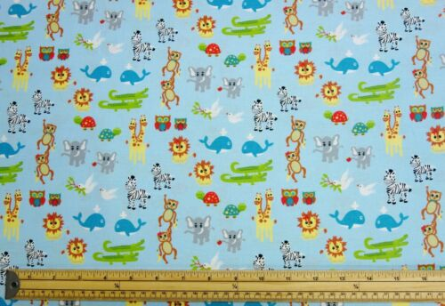 Noah/'s Ark Blue Baby Animal Zoo 100/% Cotton Patchwork Craft Fabric