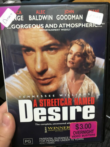 1 of 1 - A Streetcar Named Desire ex-rental region 4 DVD (1995 Alec Baldwin drama movie)