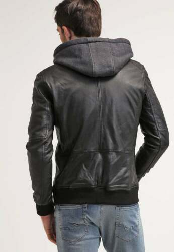 Leather Jacket Men Black with Hood Pure Lambskin Size S M L XL XXL Custom made