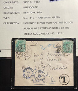 1912-Mussoore-India-Mourning-Cover-To-Rochester-NY-USA-Postage-Due