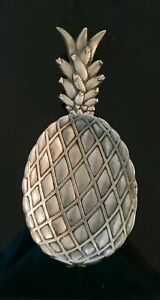 Vtg-Aluminum-Armetale-3D-Patterned-Pineapple-Shaped-Footed-Dish-Bruce-Cox