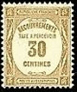 FRANCE-STAMP-TIMBRE-TAXE-YVERT-N-57-034-RECOUVREMENT-30c-BISTRE-034-NEUF-x-TB