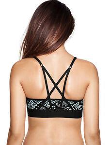 bda8a3c2f1 Victoria s Secret PINK Ultimate Strappy Back Sports Bra Blue Black ...
