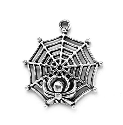 SILVERTONE SPIDER /& WEB Gothic Emo Charms Pendants 30mm x 27mm x 6mm 6 pcs ANT