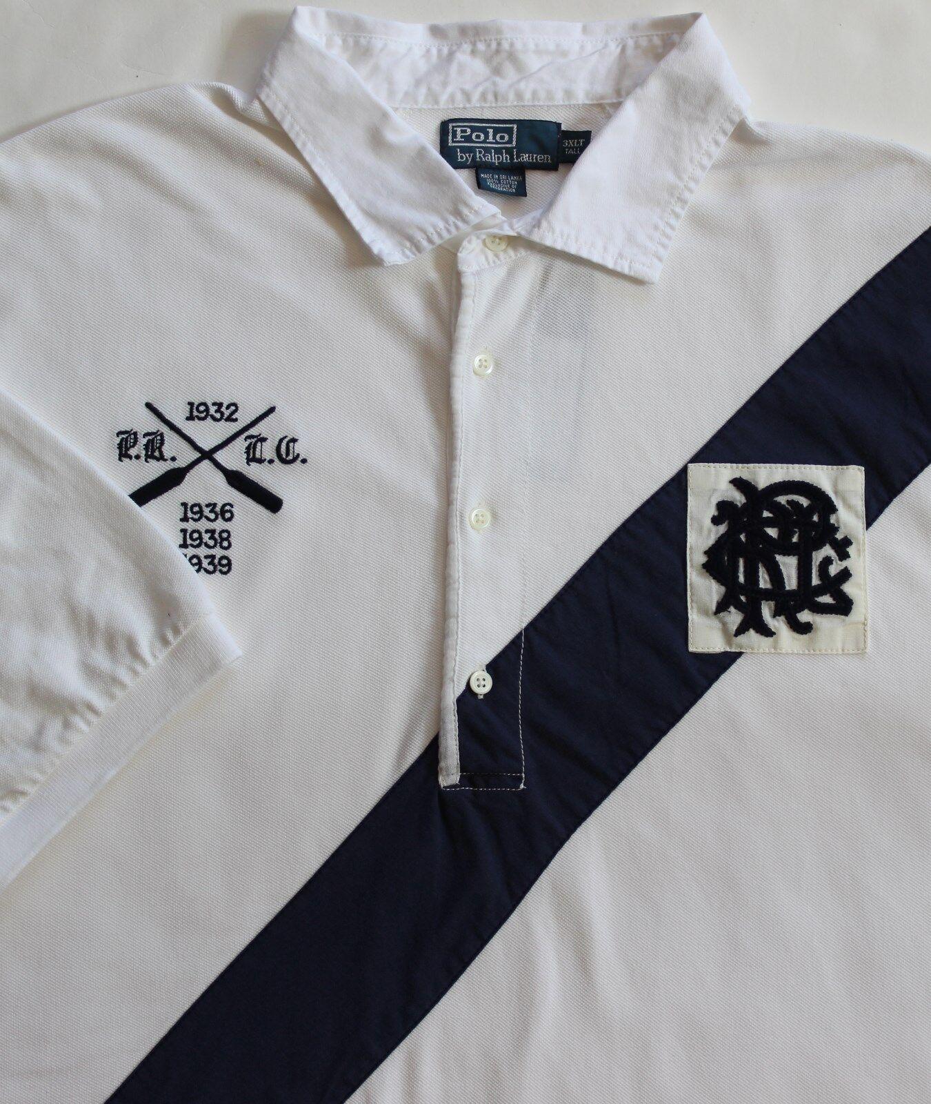 Neu Polo Ralph Lauren Weiß Logo Rudern Schärpe Baumwolle Rugby Top   Xlt     | Schön und charmant