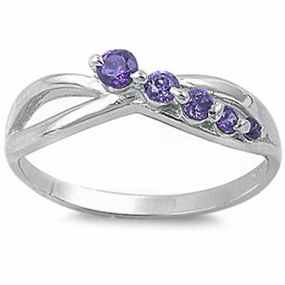 NEW 5 STONE AMETHYST  .925 Sterling Silver Ring SIZES 5-9