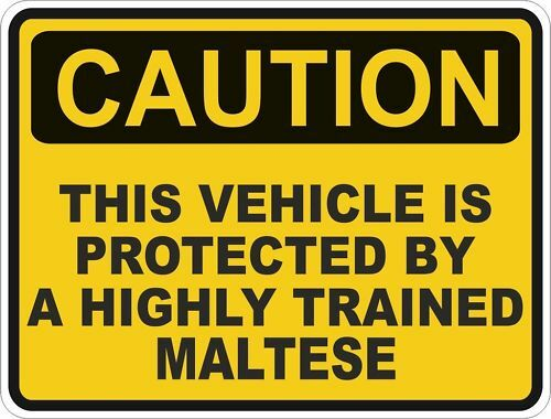 1x CAUTION PROTECTED BY MALTESE WARNING FUNNY STICKER